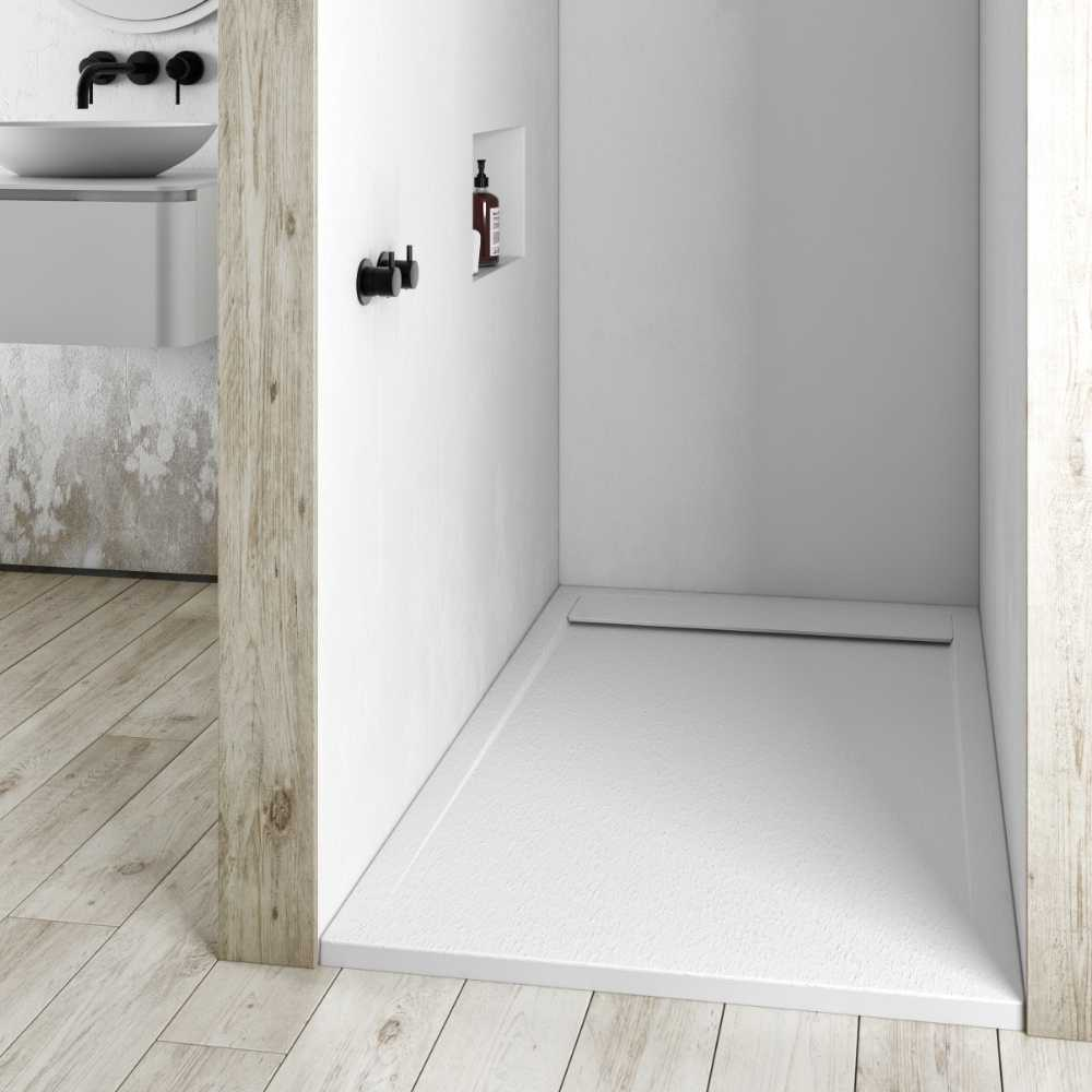 Piatto doccia in gel coat Spirit con griglia in tinta cm 80x90 Bianco Segnale