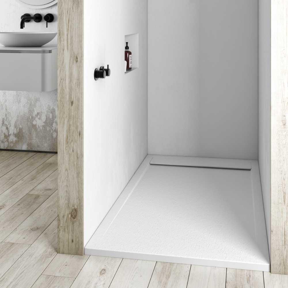 Piatto doccia in gel coat Spirit con griglia in tinta cm 80x100 Bianco Segnale