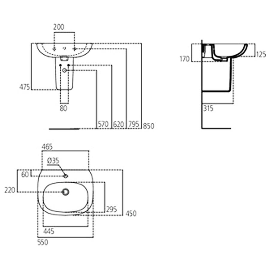 Lavabo sospeso moderno cm 55 Ideal Standard Tesi con foro rubinetteria