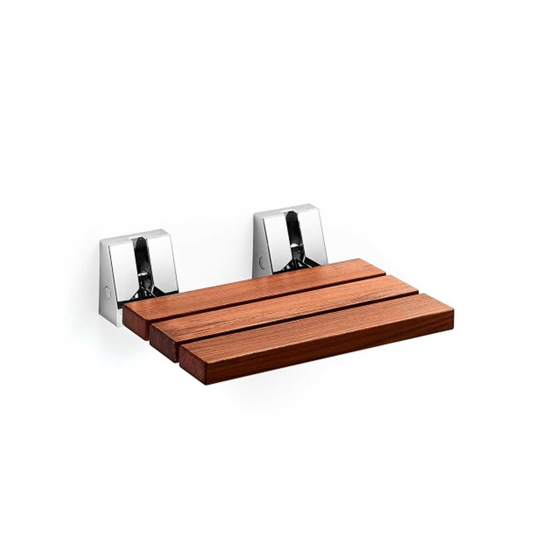Sedile doccia in teak con supporti a muro in acciaio inox lucido Lineabeta Scagni. Portata 130 Kg