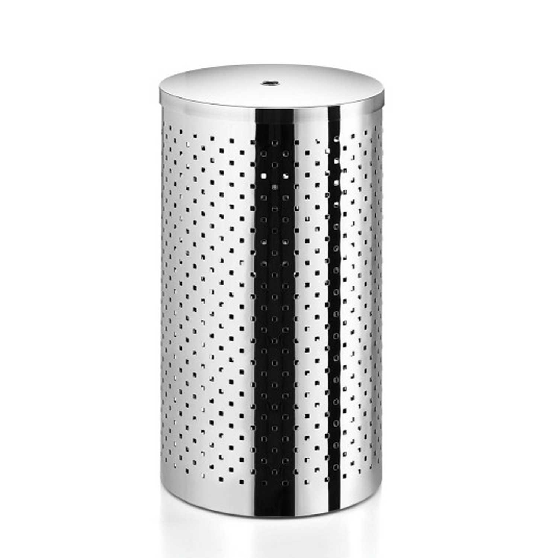 Cesto portabiancheria forato con coperchio in acciaio inox lucido diametro cm 31 Lineabeta Sestei