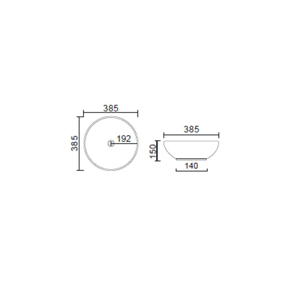 Lavabo da appoggio tondo Slim ceramica bianca diametro 38,5 cm e altezza 15 cm