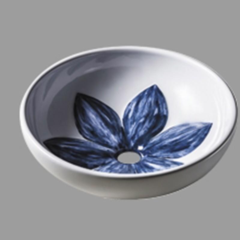 Lavabo da Appoggio Dipinto a Mano mod. FLEUR Ceramica Azzurra
