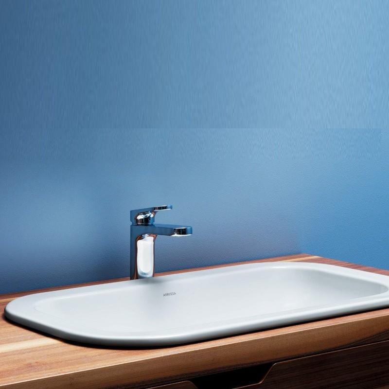 Lavabo Incasso Mod. Glaze 69X38 Ceramica Azzurra Design Moderno