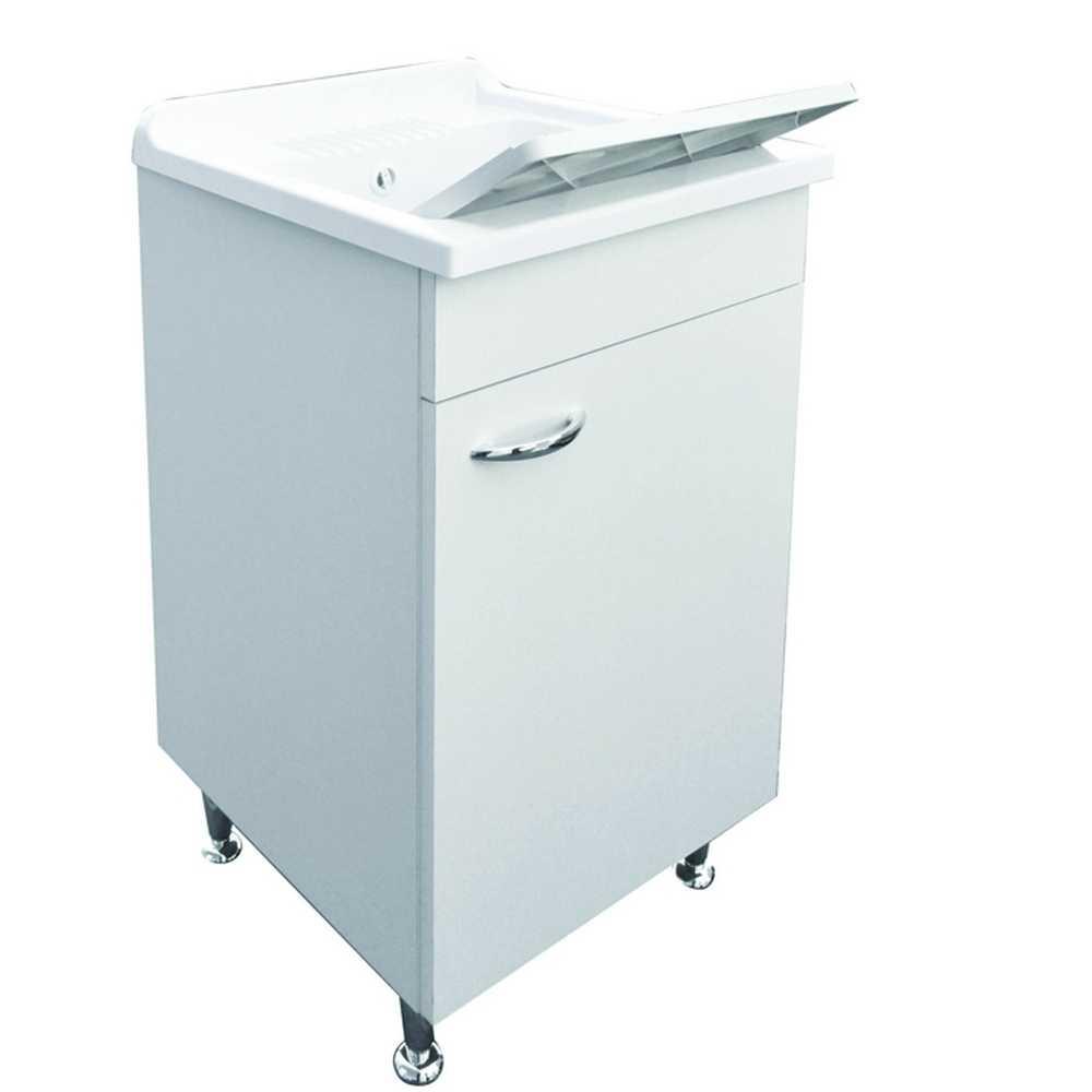 Lavatoio lavanderia con mobile idrofugo e vasca in resina 50x50 bianco. Completo di tavoletta