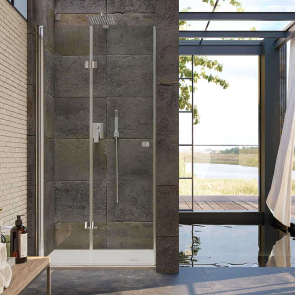 Porta doccia  da 100 cm con apertura Soffietto in cristallo trasparente 6 mm temperato