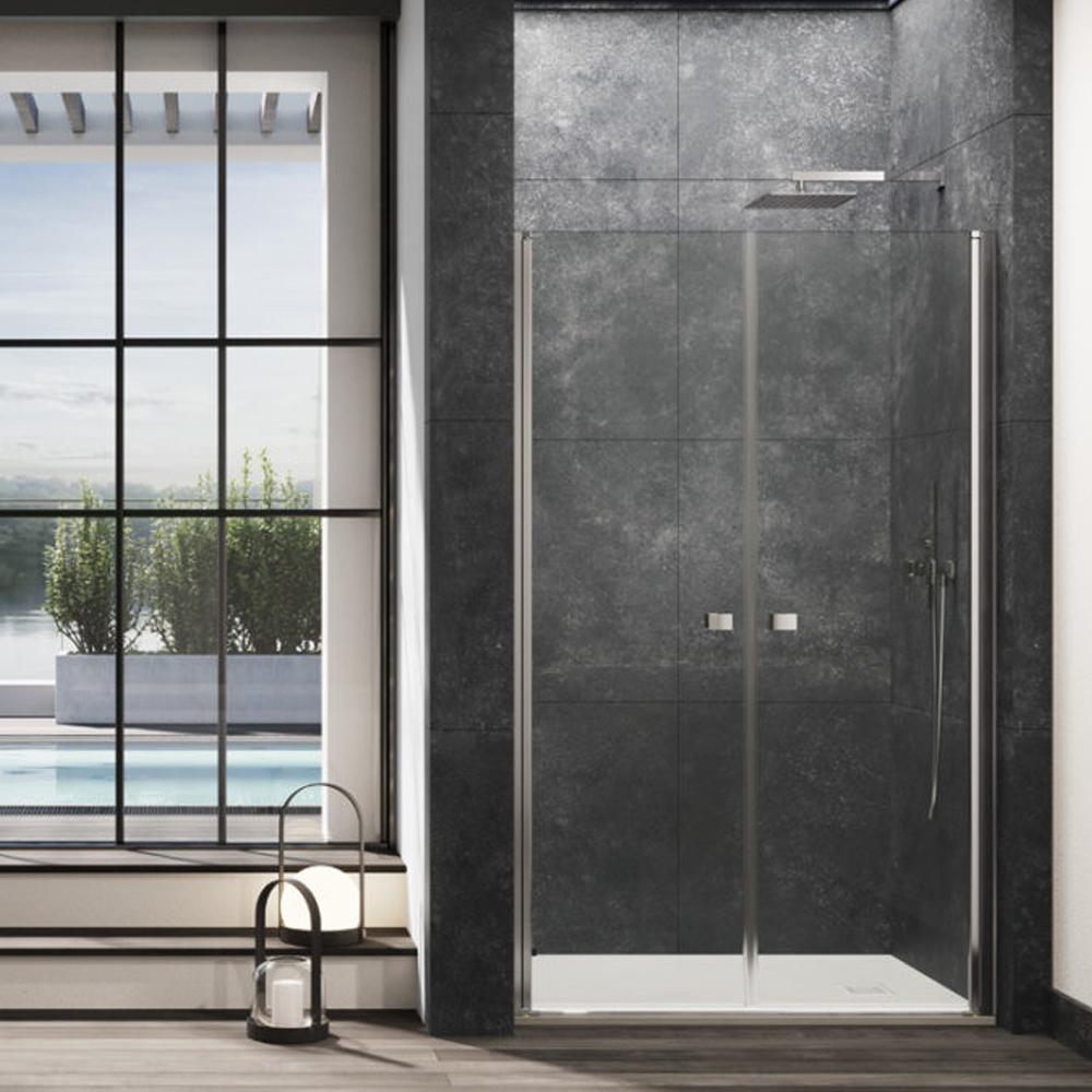 Porta doccia Kronos apertura saloon da 115 cm cristallo trasparente 6 mm temperato