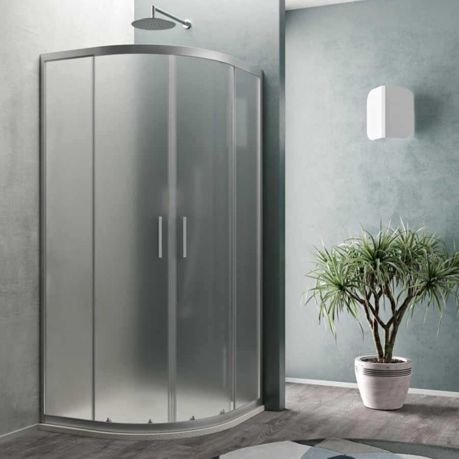 Box doccia semicircolare cm 90x90 Smart apertura scorrevole in cristallo temperato opaco da 6 mm