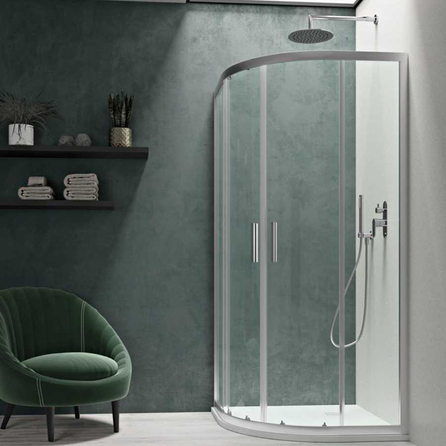 Box doccia semicircolare cm 90x90 Smart apertura scorrevole in cristallo temperato trasparente da 6 mm