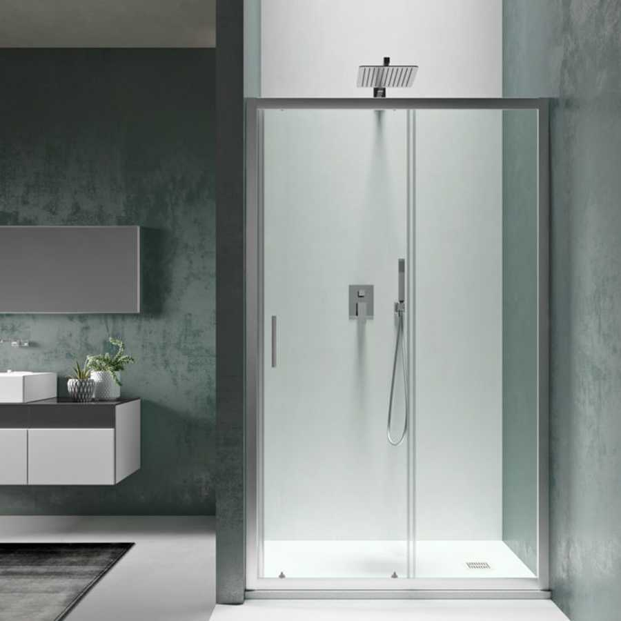 Porta doccia 100 cm Smart apertura scorrevole in cristallo temperato trasparente da 6 mm per nicchia