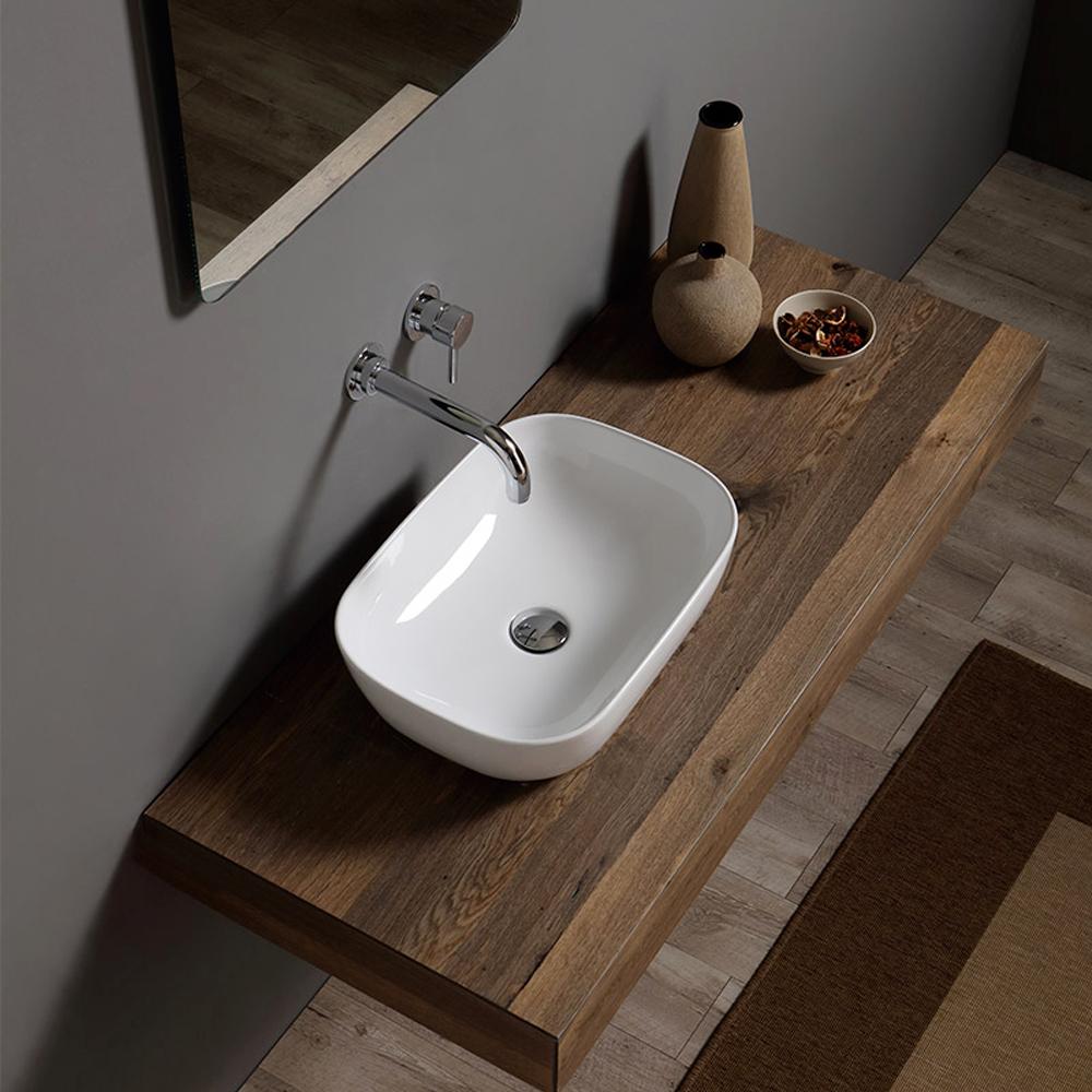 Lavabo d'appoggio bianco lucido Nero Ceramica senza troppo pieno e foro rubinetto