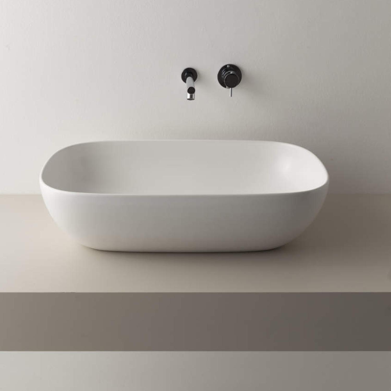 Globo Vasca Da Bagno.Nuovo Lavabo D Appoggio Ceramica Globo T Edge Bianco Opaco 60x38 H 16 Cm