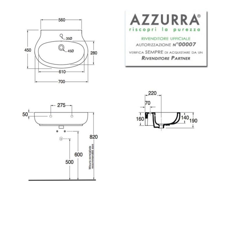 Lavabo Sospeso modello VERA 70 Ceramica Azzurra Design Moderno