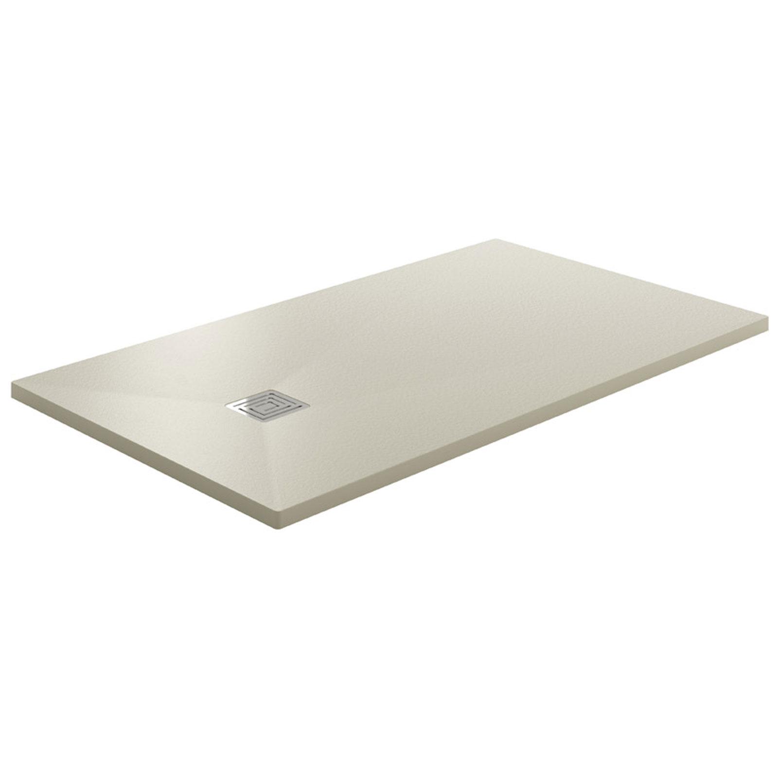 Piatto doccia 150x80 in resina tecnica beige con finitura superficiale in pietra sifone incluso