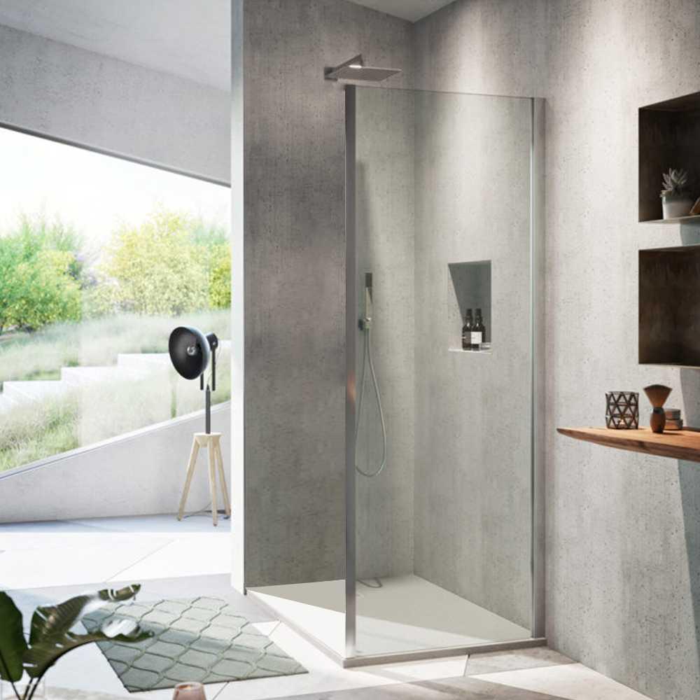 Parete fissa da 90 cm per box doccia Aton o Atena con porte scorrevoli o battenti di Vanita Docce in Cristallo Trasparente 6 mm