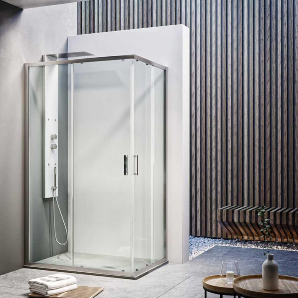 Box doccia quadrato scorrevole angolare reversibile 80x80 cm modello Dioniso in cristallo trasparente 6 mm
