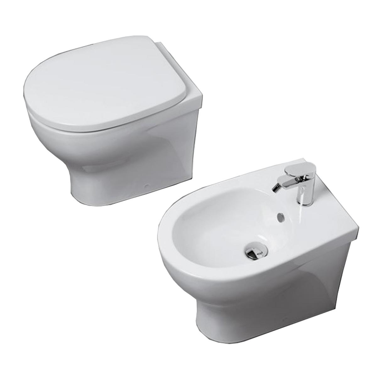 Sanitari Filo parete Pratica Ceramica Azzurra WC + BIDET + SEDILE in OFFERTA filo muro