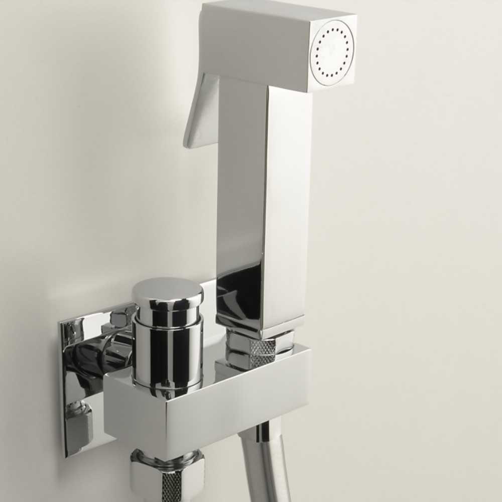 Idroscopino con doccetta quadrata e e rubinetto di arresto e flessibile in pvc da 120 cm ARES