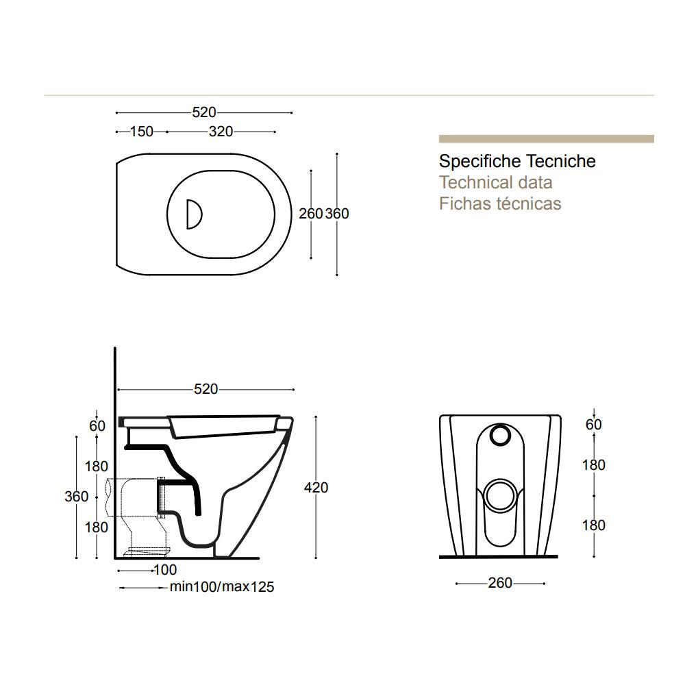 Bidet Moderno Filo Parete Design Cover Althea CERAMICHEMIRANDA
