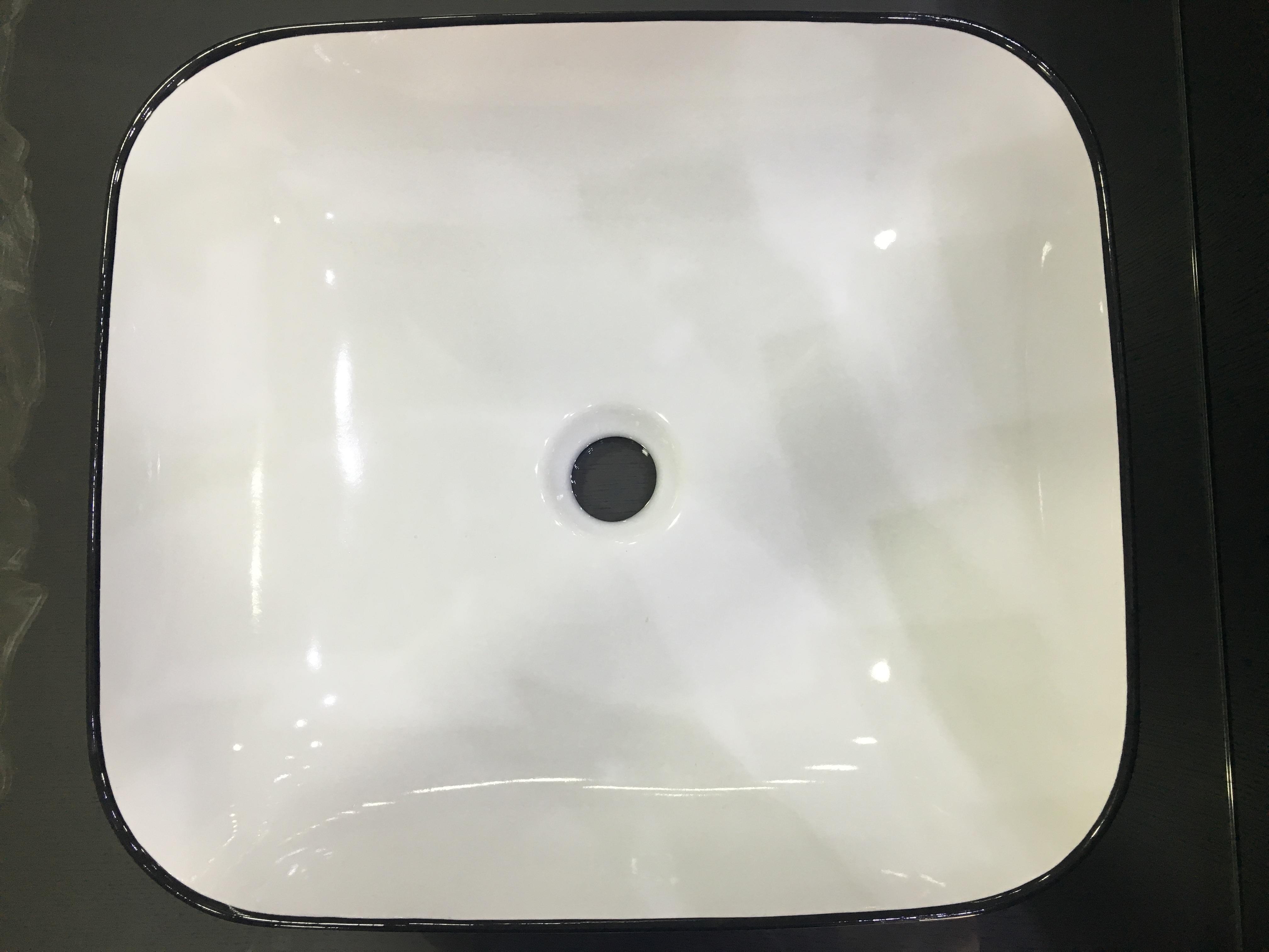 Lavabo da appoggio / semincasso  Ceramica Azzurra Elegance 45X40 decorato a mano