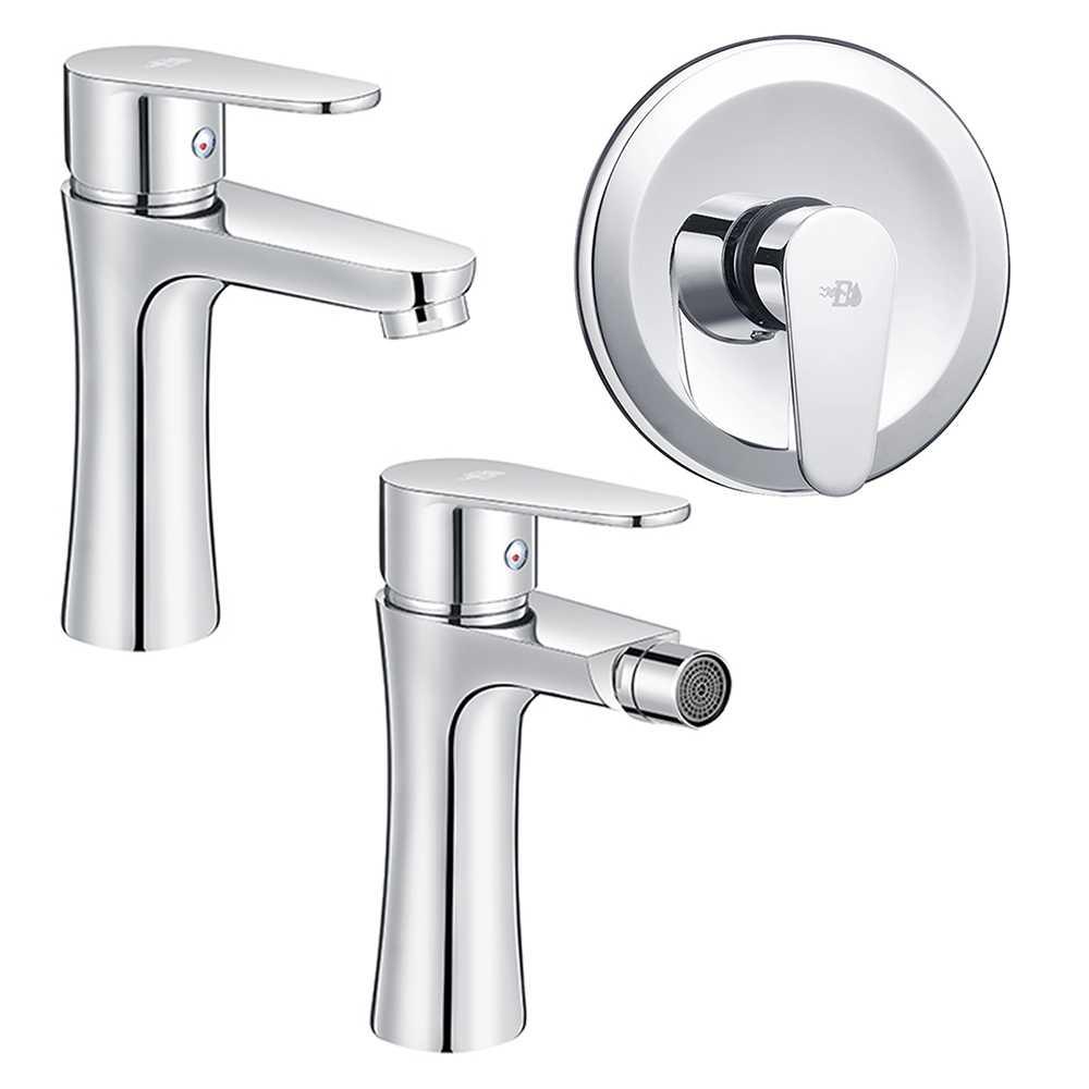 Set Miscelatori lavabo bidet con pilette e incasso doccia serie Elizabeth Cromo