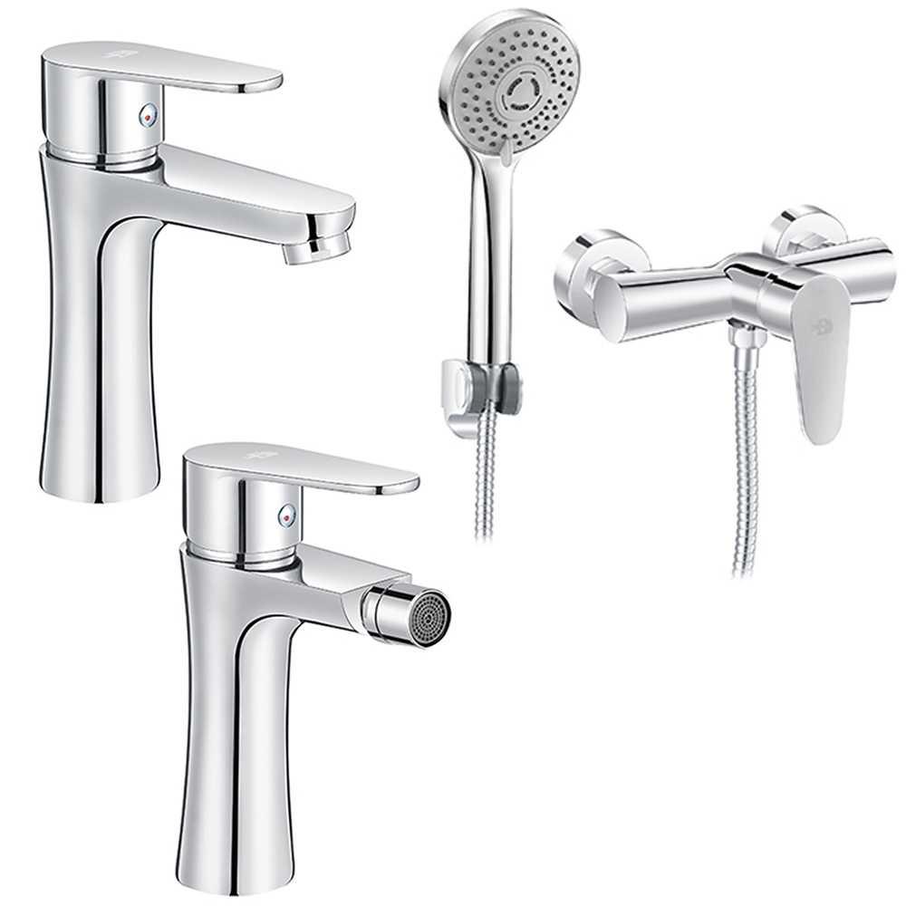Set Miscelatori lavabo bidet con pilette e esterno doccia con doccetta serie Elizabeth Cromo