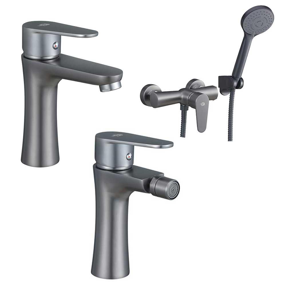 Set Miscelatori lavabo bidet con pilette e esterno doccia con doccetta serie Elizabeth nichel nero spazzolato