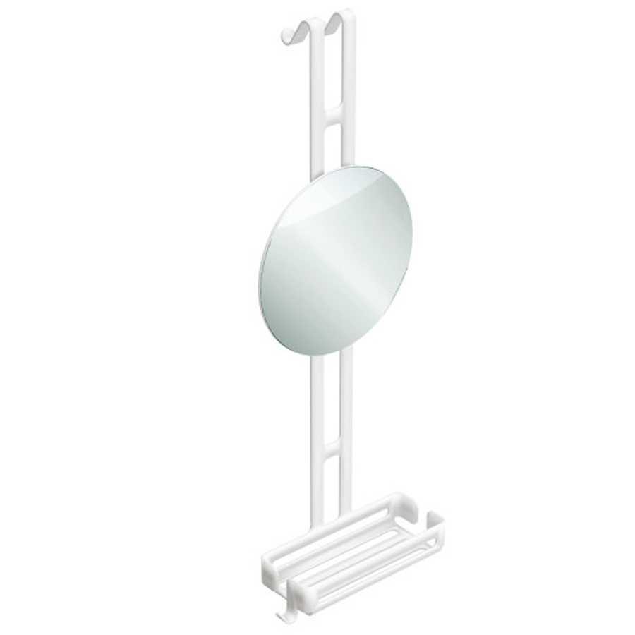 Griglia portaoggetti doccia da appendere con ripiano contenitore e specchio regolabile Lineabeta collezione Filo in alluminio verniciato bianco