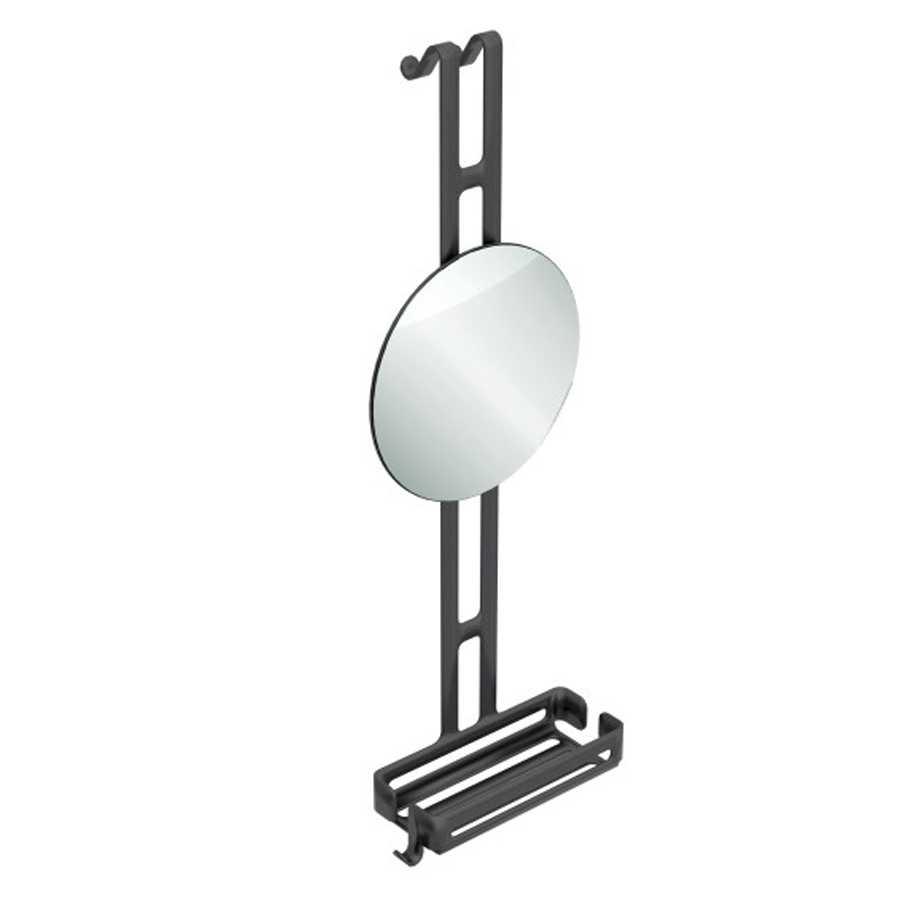Griglia portaoggetti doccia da appendere con ripiano contenitore e specchio regolabile Lineabeta collezione Filo in alluminio verniciato nero