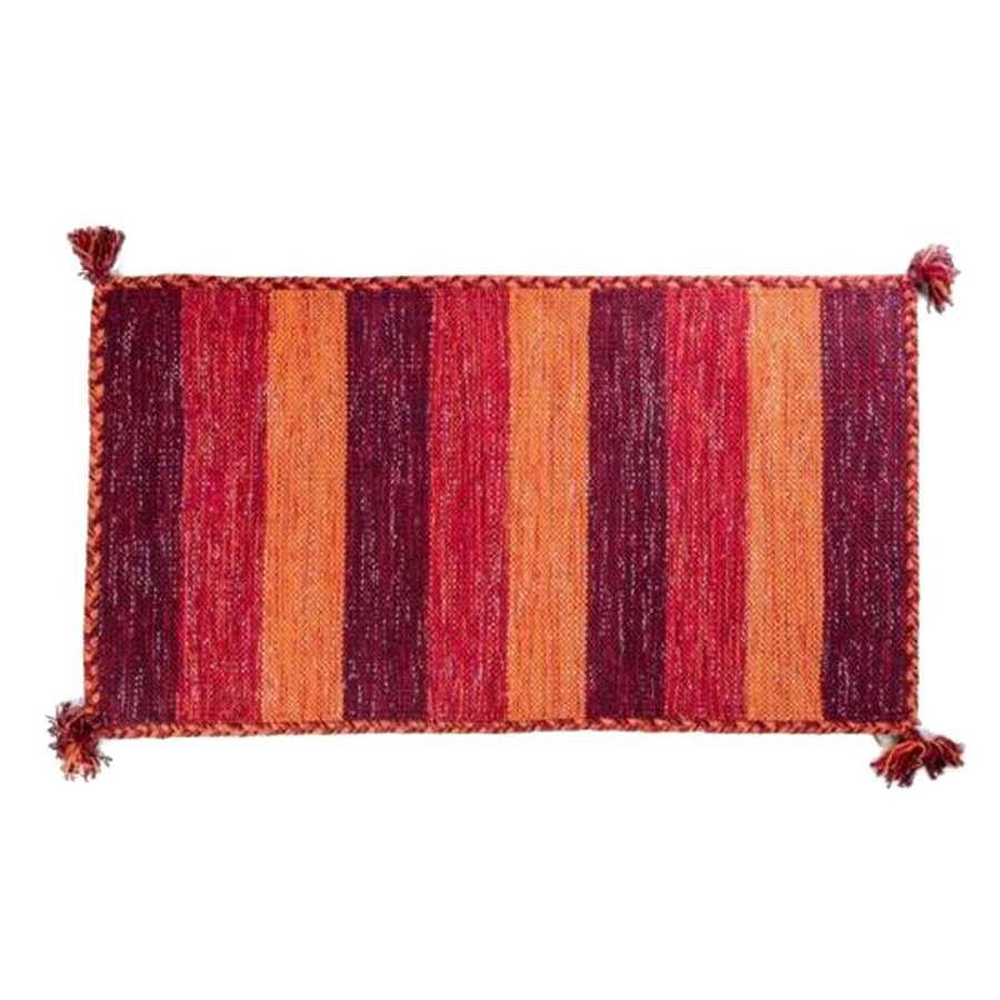 Tappeto bagno Aladin cm 100x55 100% cotone e lurex argento. Colore Arancio a righe Cipì Bathroom