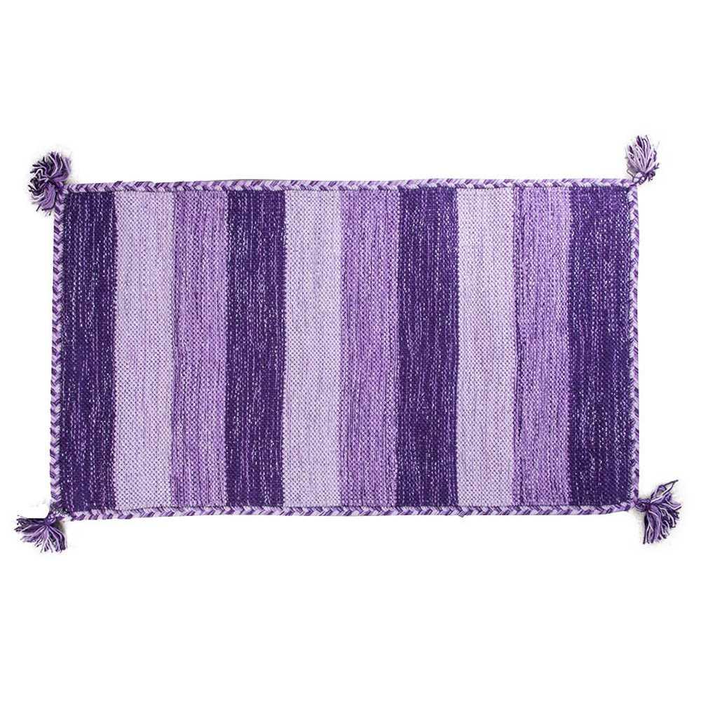 Tappeto bagno Aladin cm 100x55 100% cotone e lurex argento. Colore Viola a righe Cipì Bathroom