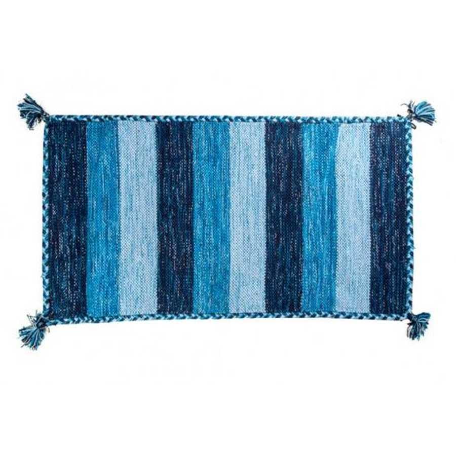 Tappeto bagno Aladin cm 100x55 100% cotone e lurex argento. Colore Blu a righe Cipì Bathroom