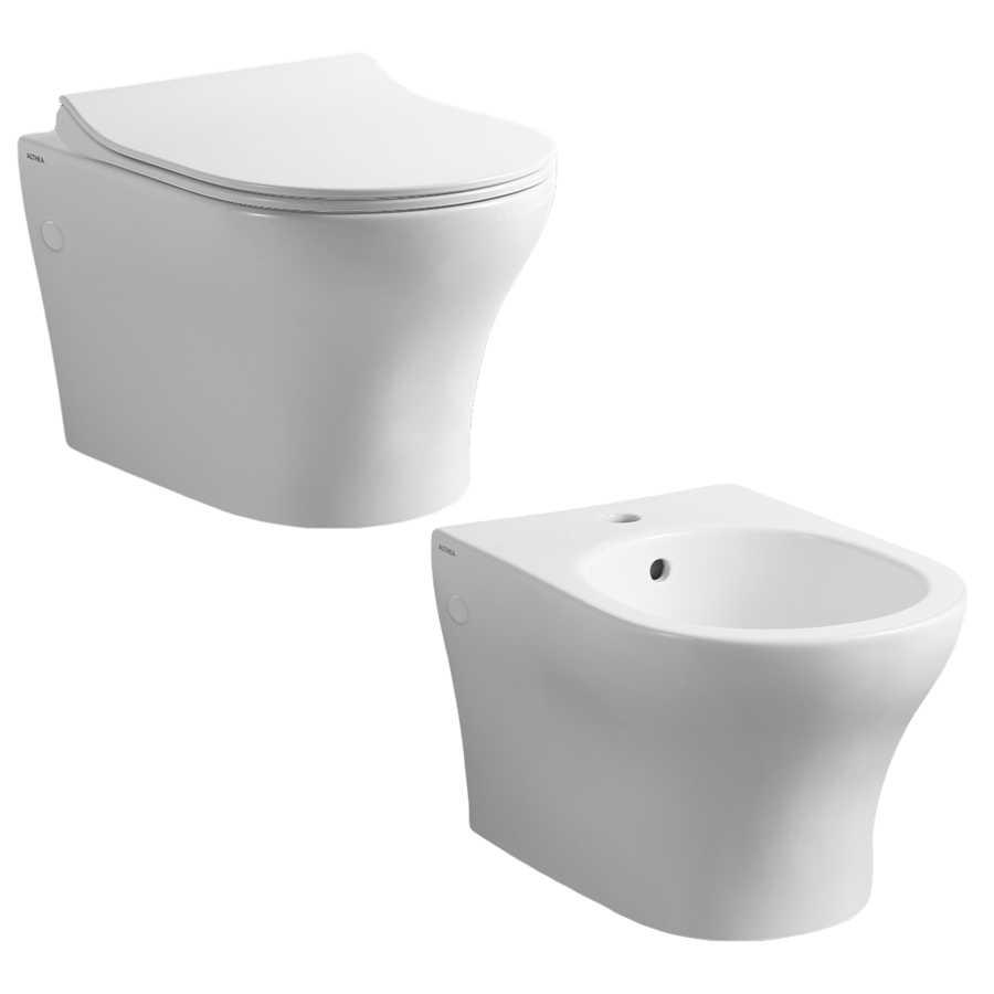 Coppia di sanitari sospesi WC bidet e coprivaso modello Liz di Althea cm 50x36