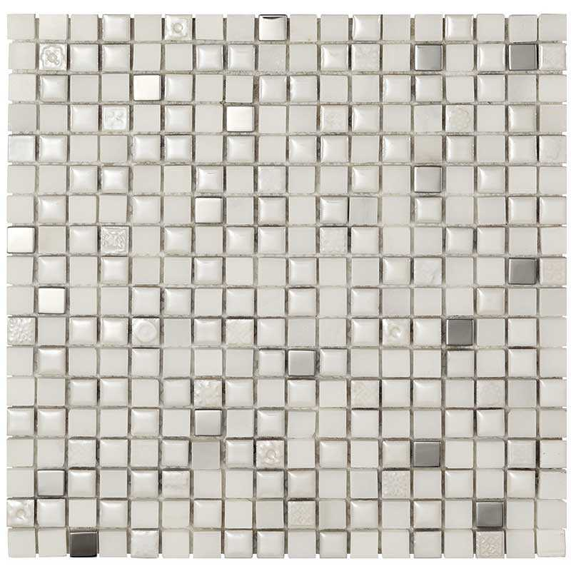 Mosaico da Bagno in 14 fogli da cm 30x30 Boxer Mexical Bianco Metal