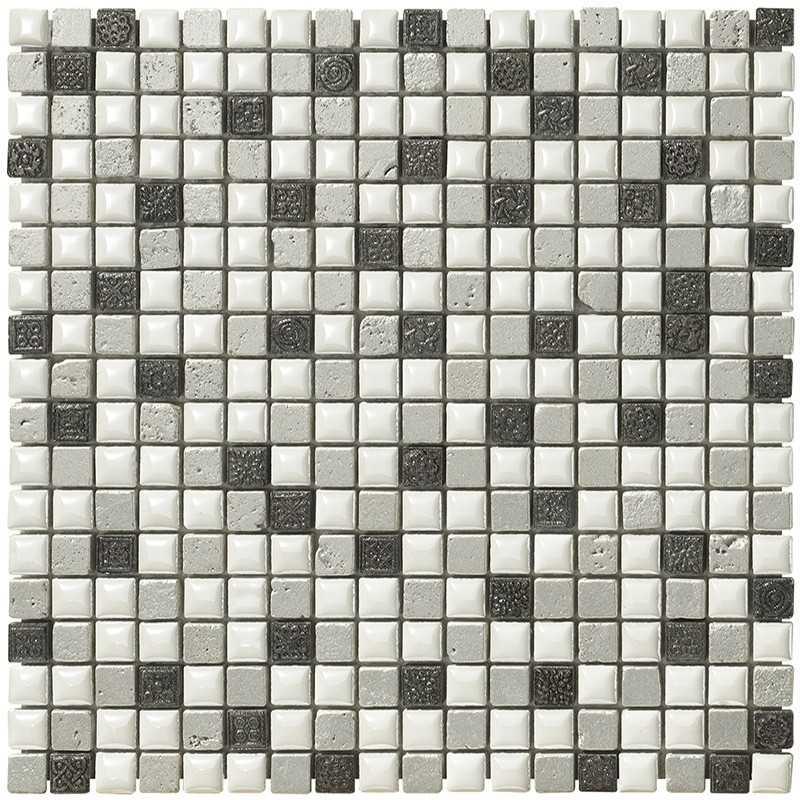 Mosaico da Bagno in confezione da 17 fogli di cm 30x30 Boxer Mexical Silver Metal - Outlet