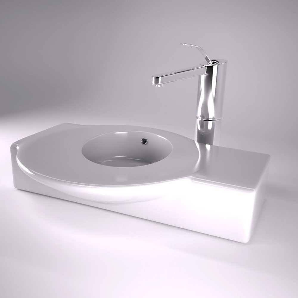 Lavabo in ceramica modello Urbi Roca con piccolo piano appoggio e vasca tonda cm 60