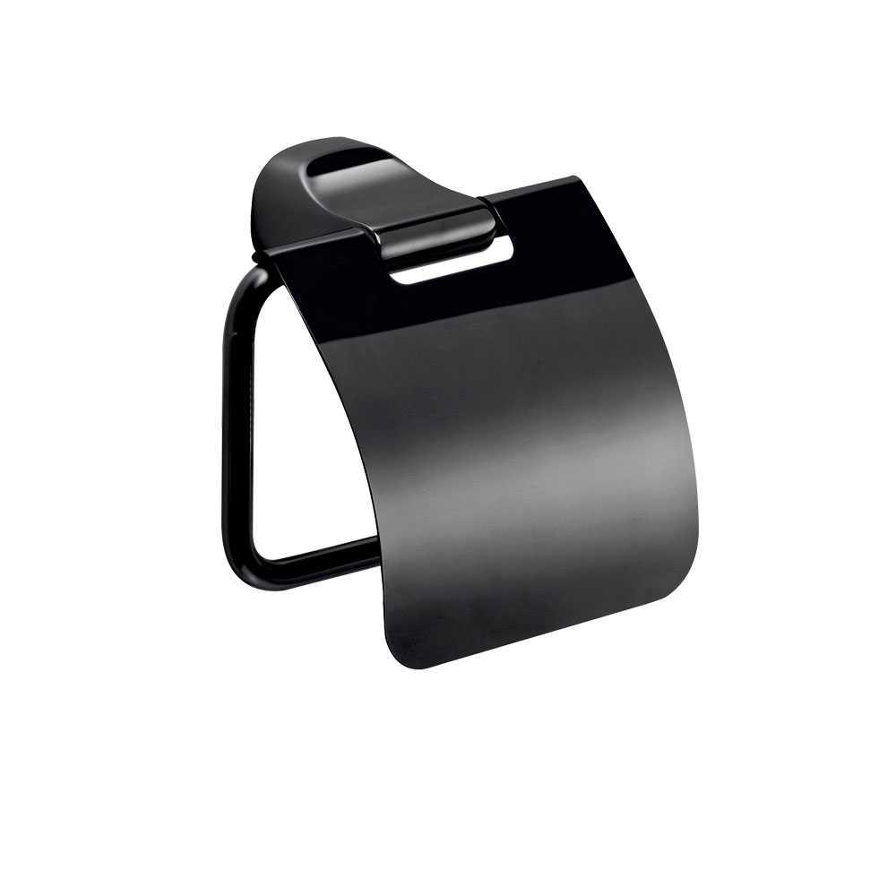 Porta rotolo sospeso in acciaio inox della collezione 'Stelvio' by Gedy - Nero matt con coperchio