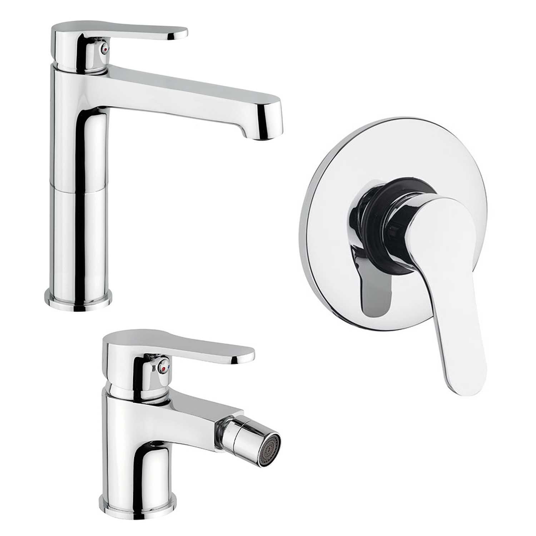 Set di miscelatori lavabo alto, bidet e doccia in ottone cromato con piletta clic clac serie Flash by Crolla