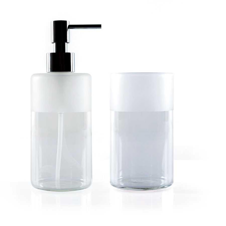 Set bicchiere e dosasapone a pompetta in vetro borosilicato trasparente Lineabeta Saon