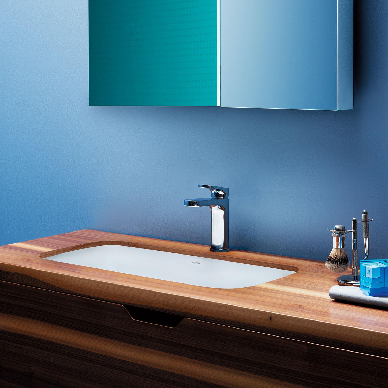Lavabo sottopiano 69x38 Ceramica azzurra Glaze