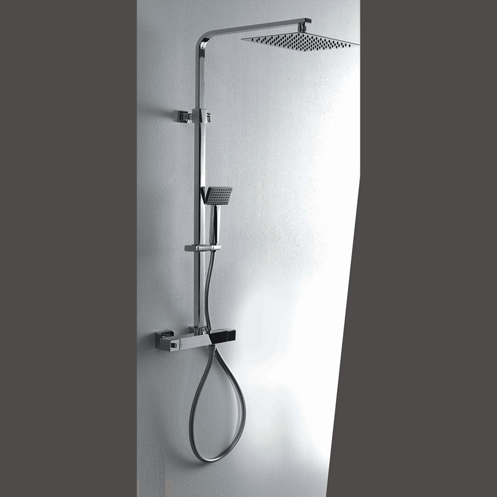 Colonna doccia termostatica squadrata con soffione 30X30 e corpo telescopico