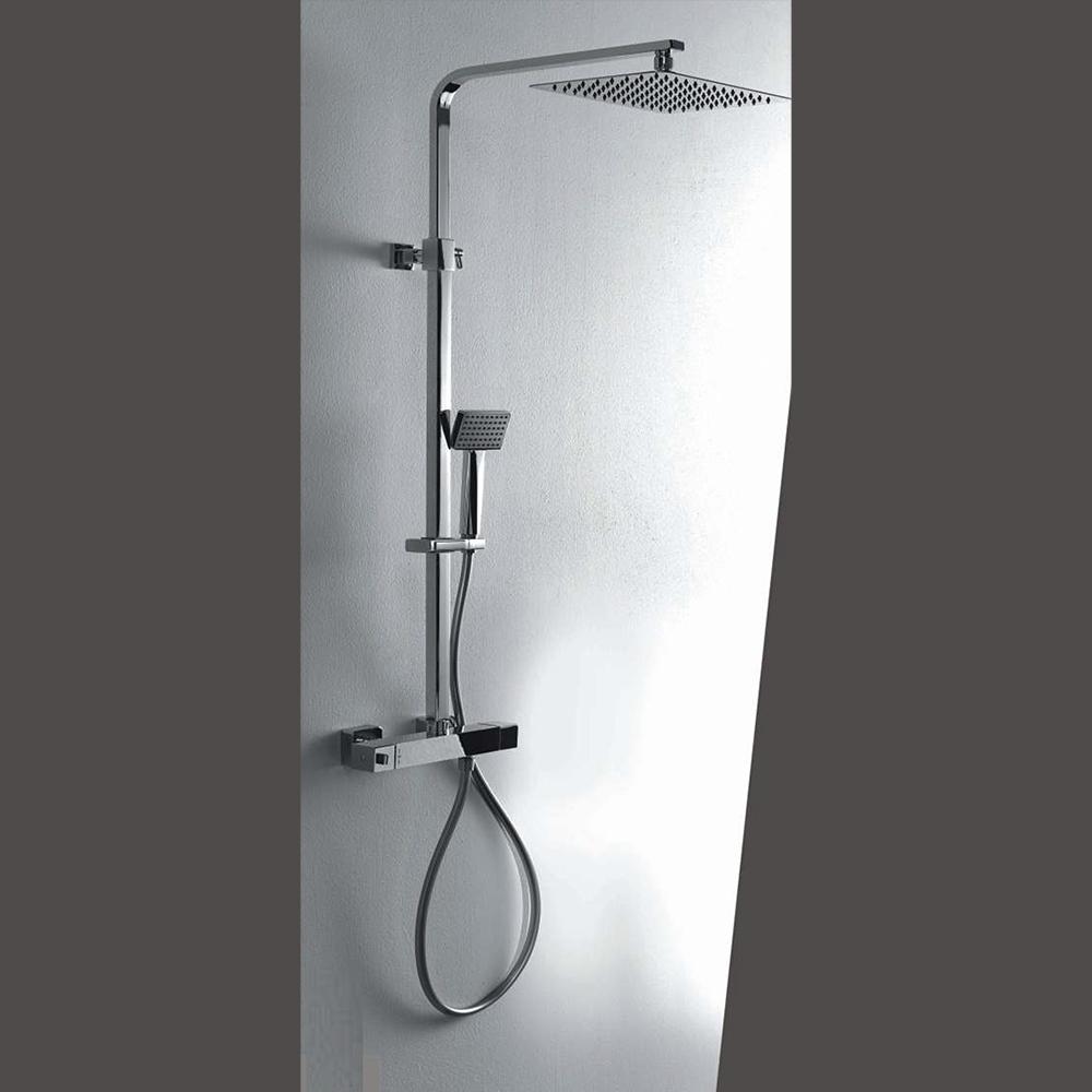 Colonna doccia termostatica squadrata con soffione 30X20 e corpo telescopico