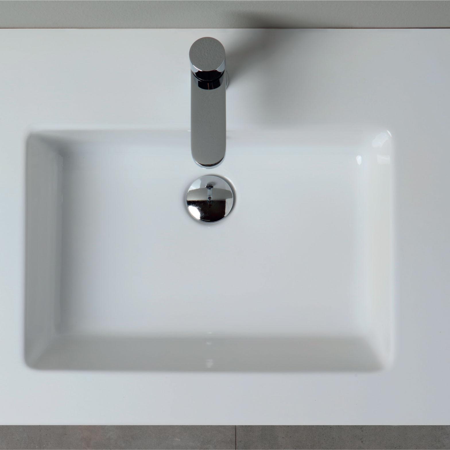Lavabo consolle in ceramica cm 91x51 per installazione sospesa o da appoggio su mobile Azzurra Slim
