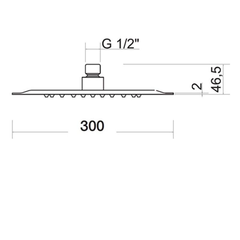 Soffione doccia Ares acciaio inox quadrato 40x40 lucidato a specchio anticalcare