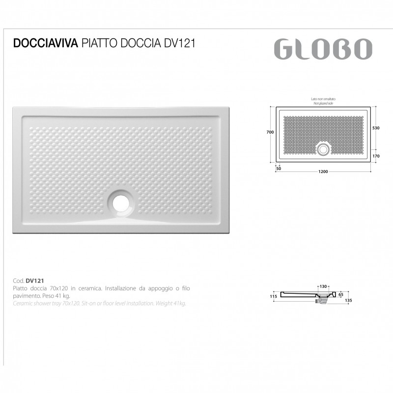 Piatto Doccia 120X70 mod. Docciaviva Ceramica Globo