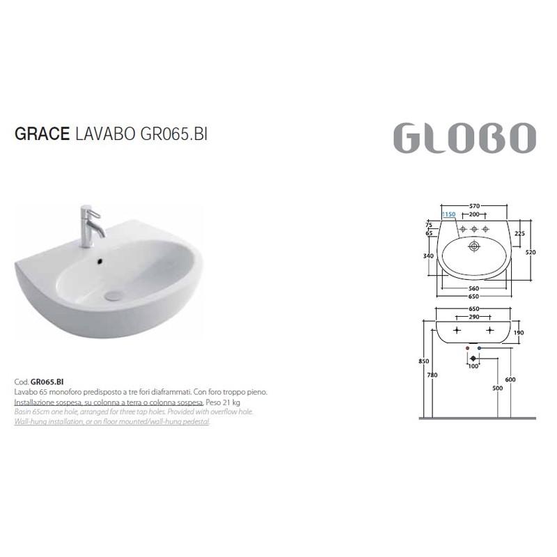 Lavabo Lavandino Sospeso mod. Grace 65 Ceramica Globo