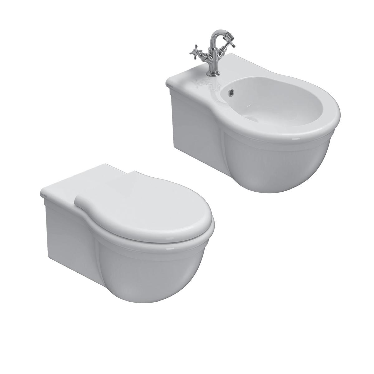 Sanitari Sospesi Classici Ceramica Globo Paestum WC + BIDET + SEDILE