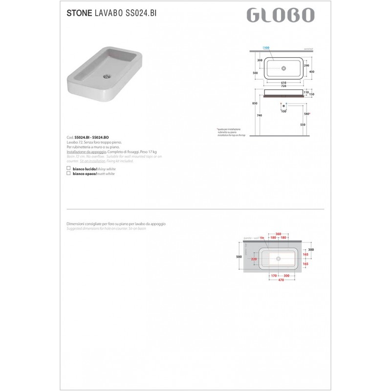 Lavabo da Appoggio Ceramica Globo Stone 72X39 SS024.BI