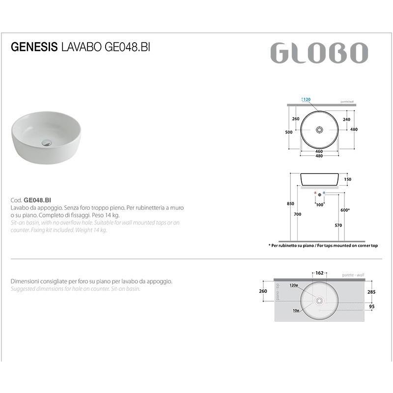 Lavabo Appoggio Ceramica Globo Bowl+/Genesis d.48 GE048.BI