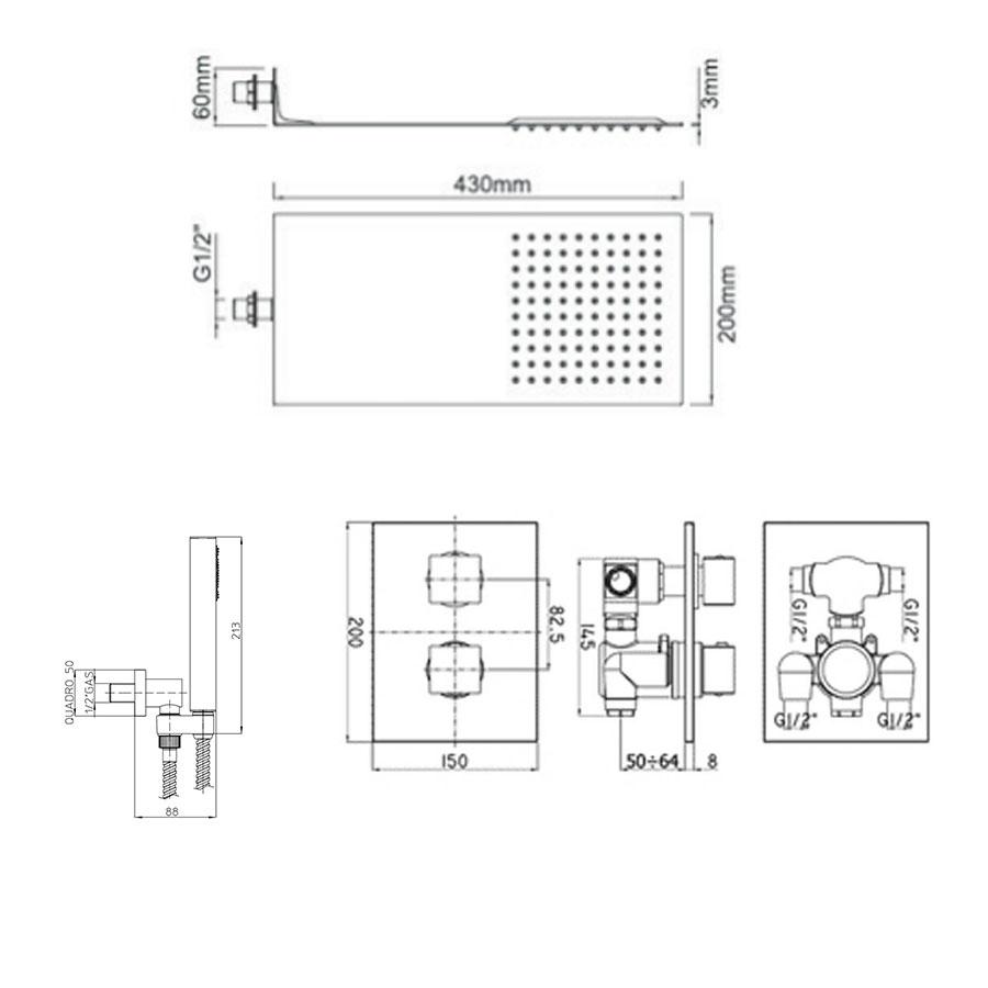 Set doccia Ares con soffione in acciaio ultraslim, miscelatore termostatico 2 vie e set duplex